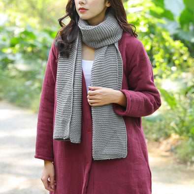 Simple Plain Solid Gray Knitted Scarf For Women - Buykud