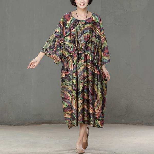 Spring Printed Round Neck Cotton Spandex Women Dress