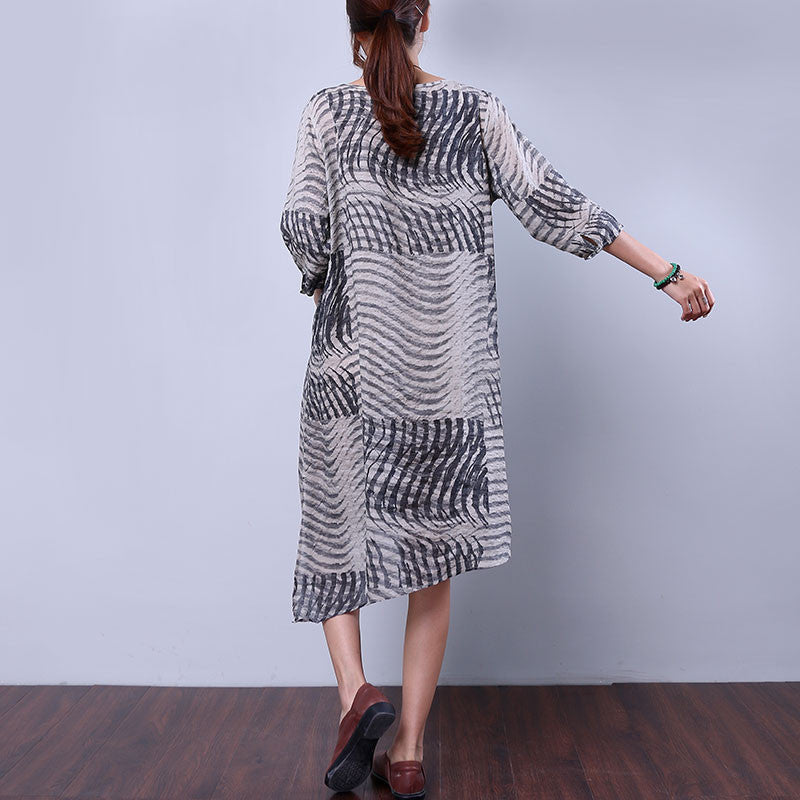 Hemp Slit Pocket Strap Women Gray Dress - Buykud