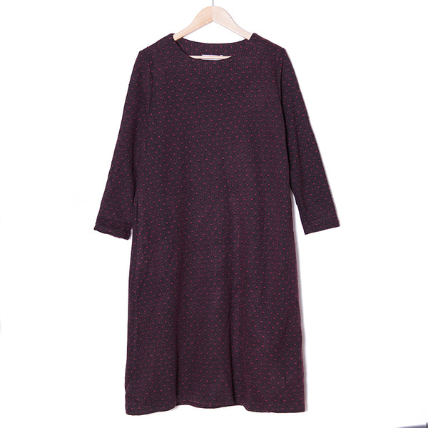 Retro Dot Printing Long Sleeves Dark Red Winter Women Dress - Buykud