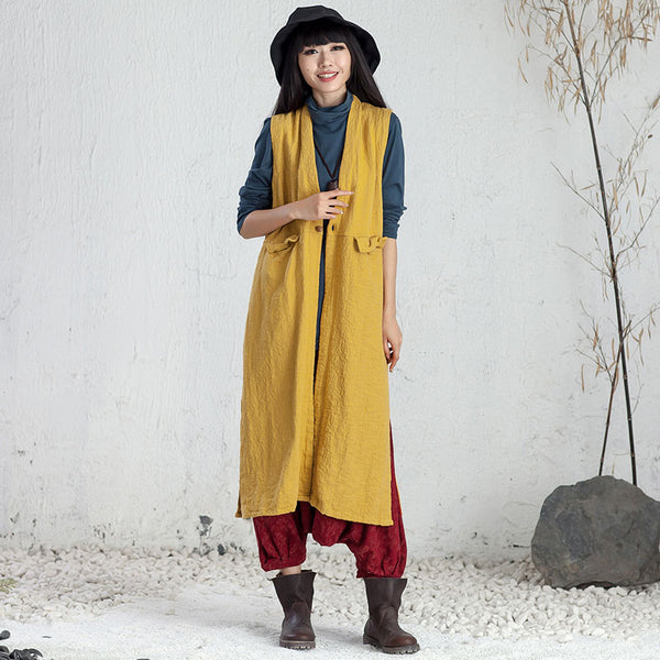 Chic Jacquard Women Autumn Cardigan Slitting Yellow Sleeveless Coat - Buykud