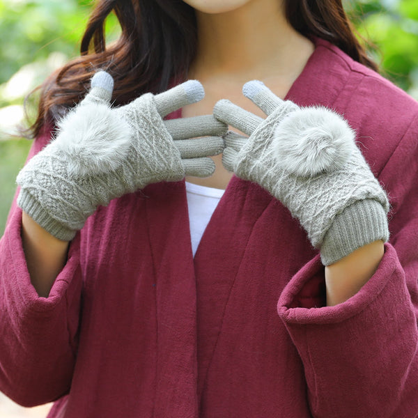 Women Winter Fashion Fur-Trim Two Pieces Knitted Gloves