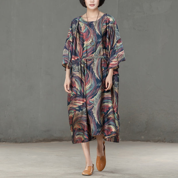 Spring Printed Round Neck Cotton Spandex Women Dress - Buykud