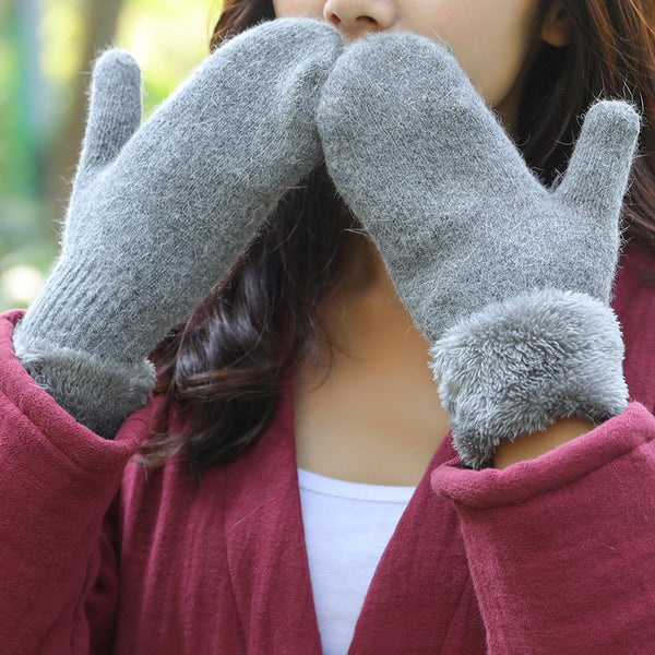 Winter Women Keep Hand Warm Thick With Velvet Gloves