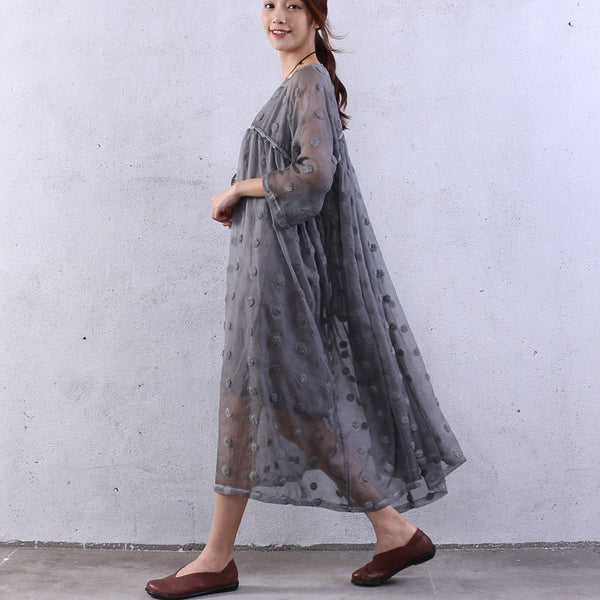 Splicing Women Silk Summer Loose Cotton Gray Dress - Buykud