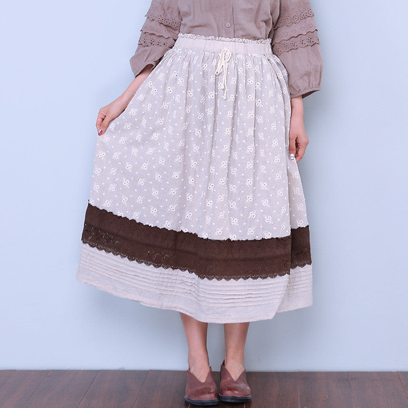Loose Women Casual Floral Linen Splicing Skirt - Buykud