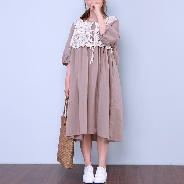 Floral Button Women Coffee Dress - Buykud