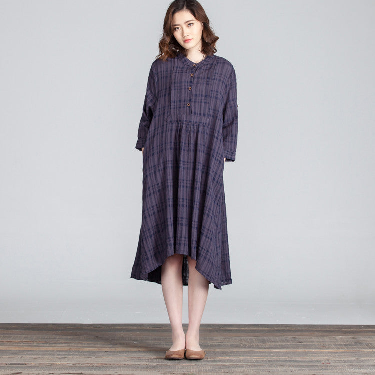 Spring Loose Irregular Women Folded Latice Casual Dress - Buykud