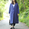 V Neck Chic Buckle Design Long Sleeves Blue Long Coat For Women - Buykud