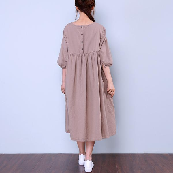 Women Loose Round Neck Half Sleeve Beige Dress