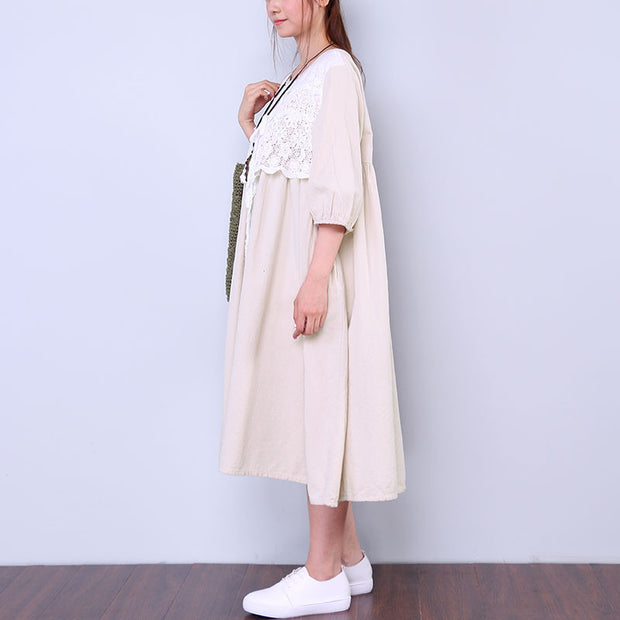 Floral Button Women Beige Dress - Buykud