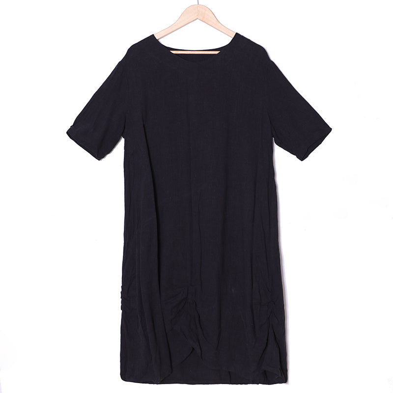 Summer Casual Short Sleeve Simple Black Dress For Women - Buykud