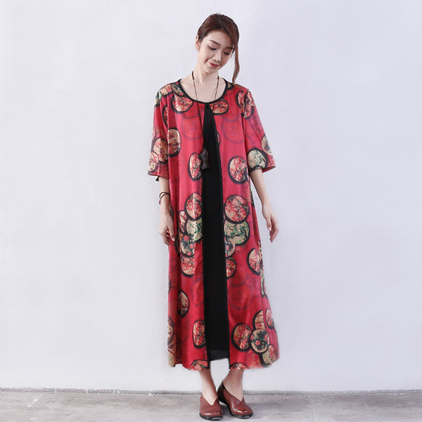 Printing Women Summer Splicing Loose Red Dress