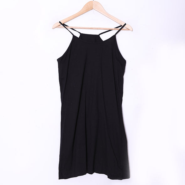 Women Spaghetti Strap Solid Black Sexy Tank Tops - Buykud
