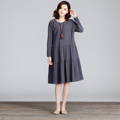 Casual Round Neck Folded Splicing Women Dress - Buykud