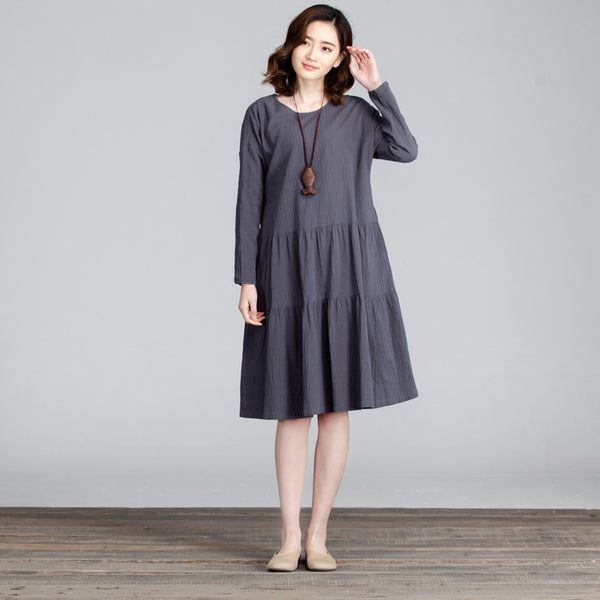Casual Round Neck Folded Splicing Women Dress