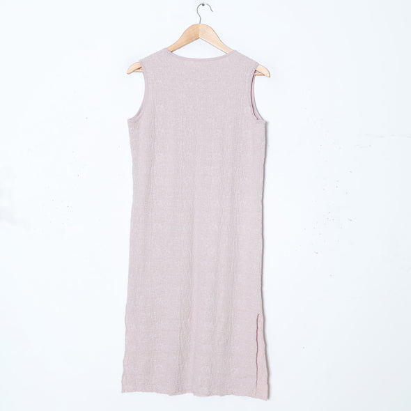 Women Sleeveless Pockets Side Slit Light Pink Knitting Dress - Buykud