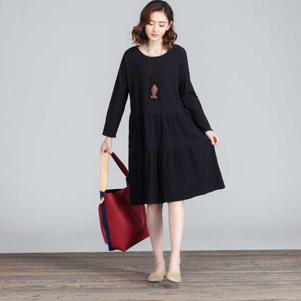Casual Round Neck Folded Splicing Women Black Dress - Buykud