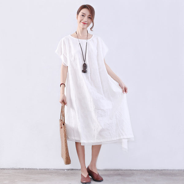 Casual Loose Women Shoulder Sleeves White Dress