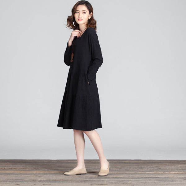 Casual Round Neck Folded Splicing Women Black Dress