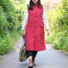 Keep Warm Sleeveless Retro Frogs Big Pockets Red Women Coat - Buykud