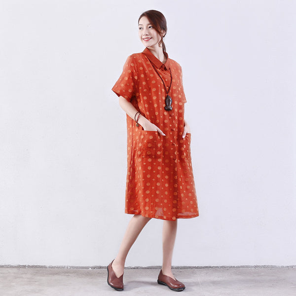 Retro Women Dot Silk Summer Loose Linen Yellow Dress - Buykud