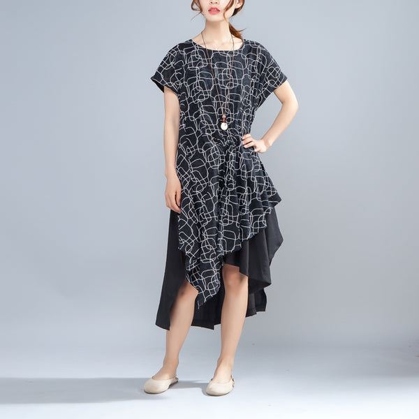 Irregular Round Neck Short Sleeve Casual Black Dress - Buykud