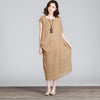 Irregular Round Neck Women Khaki Vest Dress - Buykud