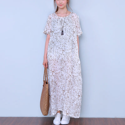 Short Sleeves Women Printing Round Neck Dress - Buykud