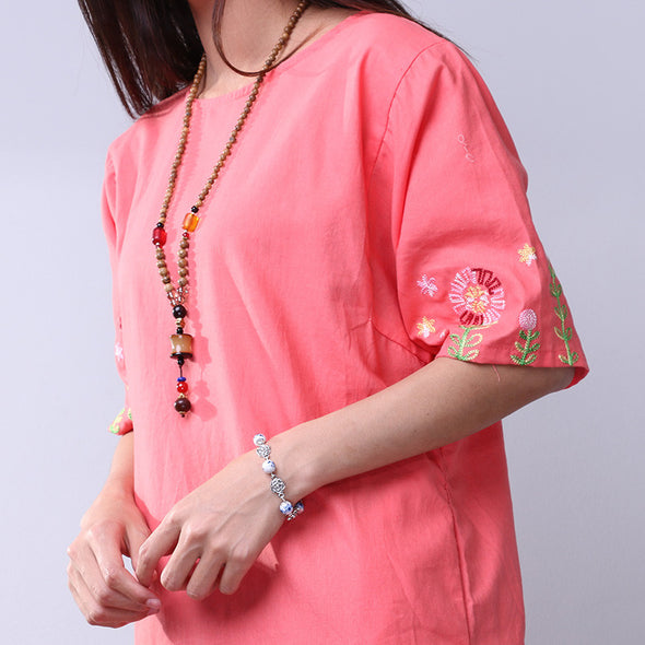 Summer Women Sweet Embroidered Splicing Pink Dress - Buykud