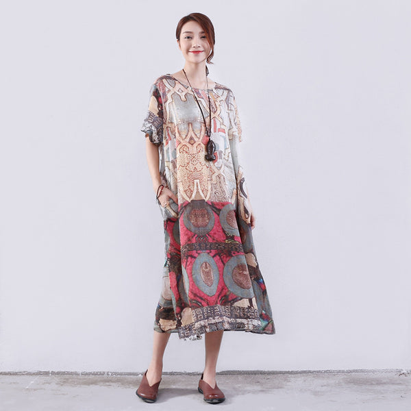 Retro Printing Women Loose Linen Red Dress