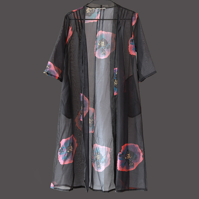 Women Short Sleeve Printing Black Thin Cardigan Coat - Buykud