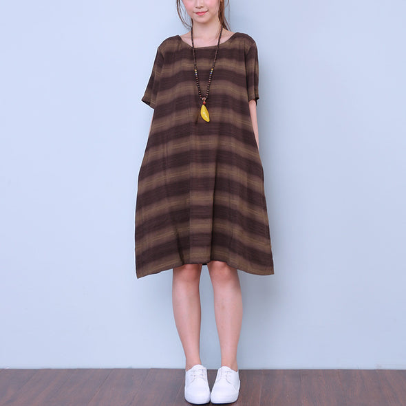 Casual Striped Pocket Women Brown Dress - Buykud