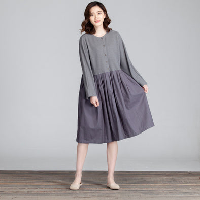 Folded Women Casual Splicing Loose Gray Dress - Buykud