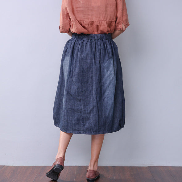 Casual Splicing Printing Women Denim Skirt - Buykud