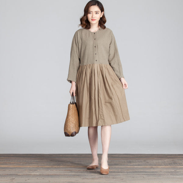 Folded Women Casual Splicing Loose Green Dress