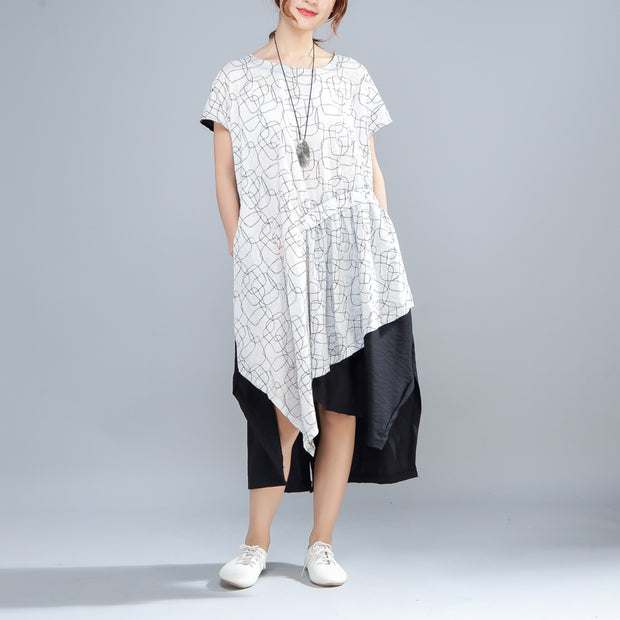 Irregular Round Neck Short Sleeve Casual Women Dress - Buykud