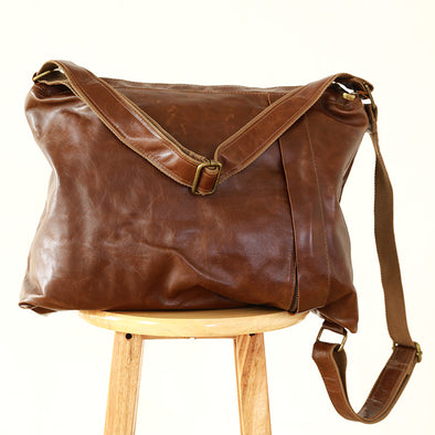 Women Retro Canvas Leather Versatile Shoulder Bag - Buykud
