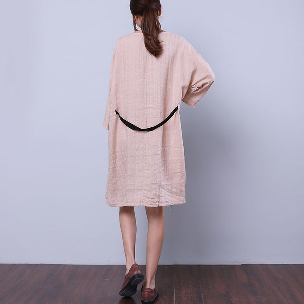 String Women Loose Splitting Casual Linen Rayon Beige Dress - Buykud