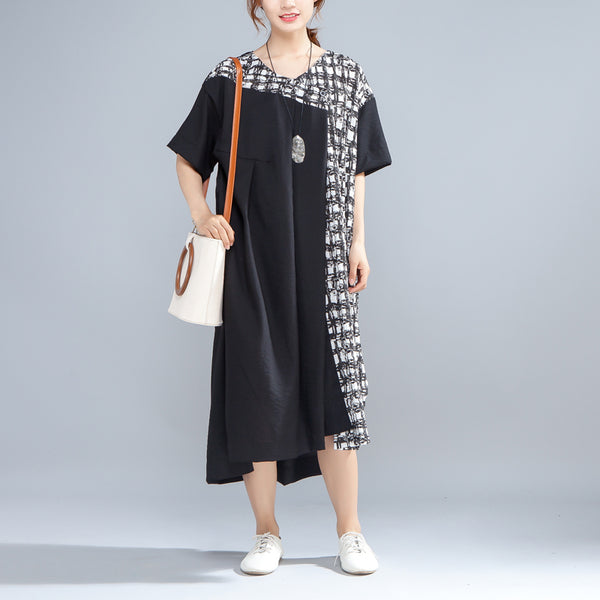 V Neck Short Sleeve Loose Irregular Women Dress - Buykud