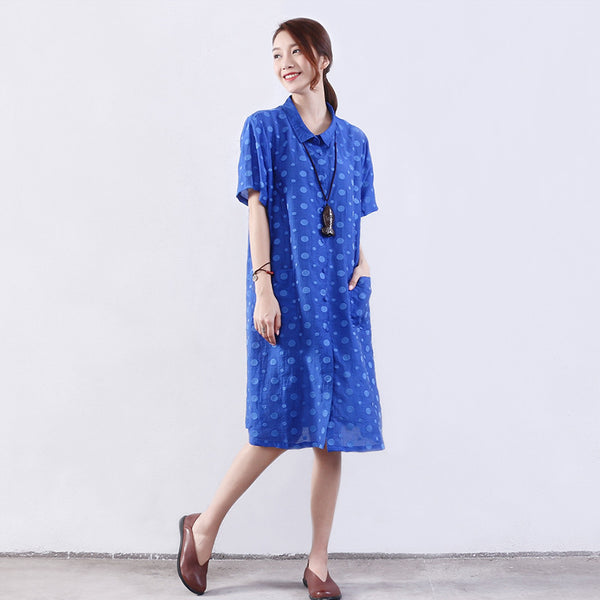 Retro Women Dot Silk Summer Loose Linen Blue Dress