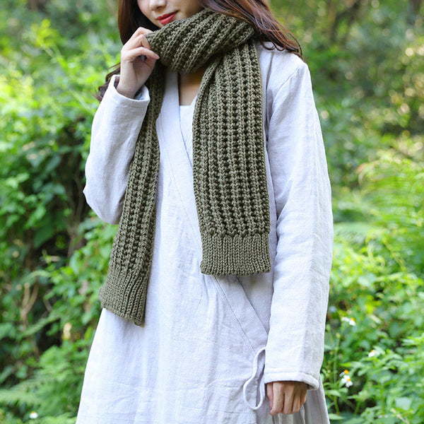 Casual Women Winter Army Green Knitting Rectangle Scarf - Buykud