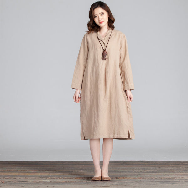 Loose Irregular Casual Women Folded Khaki Dress - Buykud