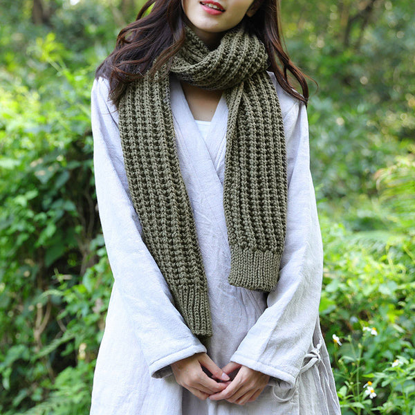 Casual Women Winter Army Green Knitting Rectangle Scarf