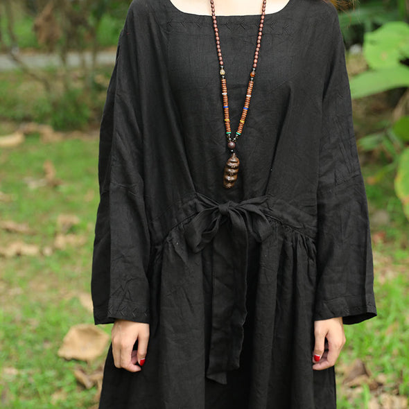 Flax Black Long Sleeve Pleated Pockets Lacing Embroidery Dress - Buykud