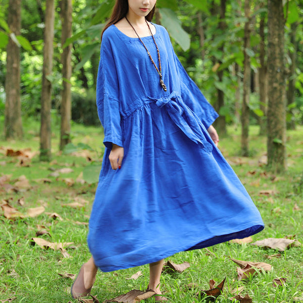 Flax Blue Long Sleeve Pleated Pockets Lacing Embroidery Dress - Buykud