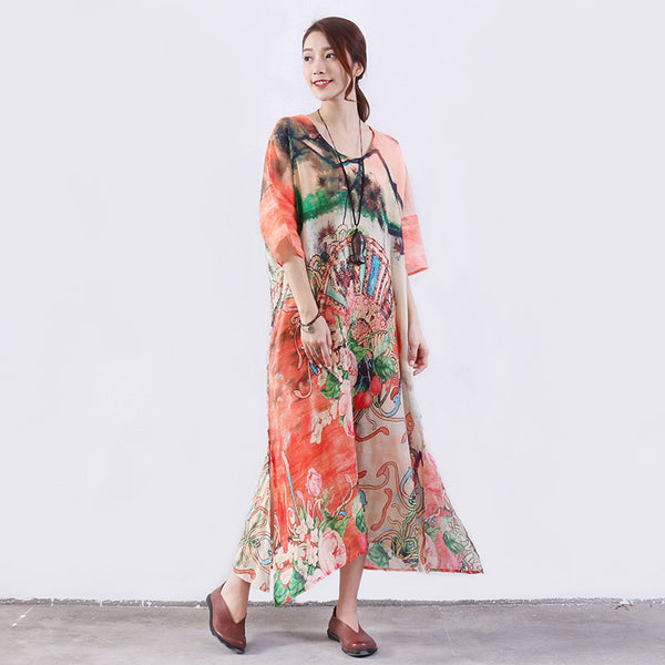 Women Summer Printing Pocket Slit Hemp Orange Dress