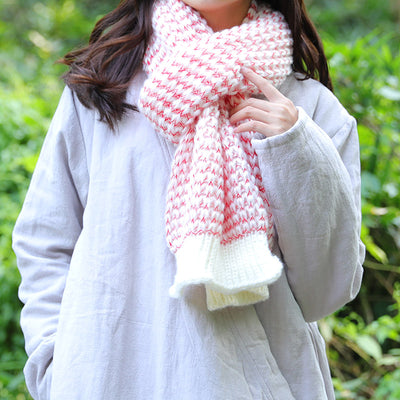 Sweet Women White And Red Knitted Rectangle Scarf - Buykud