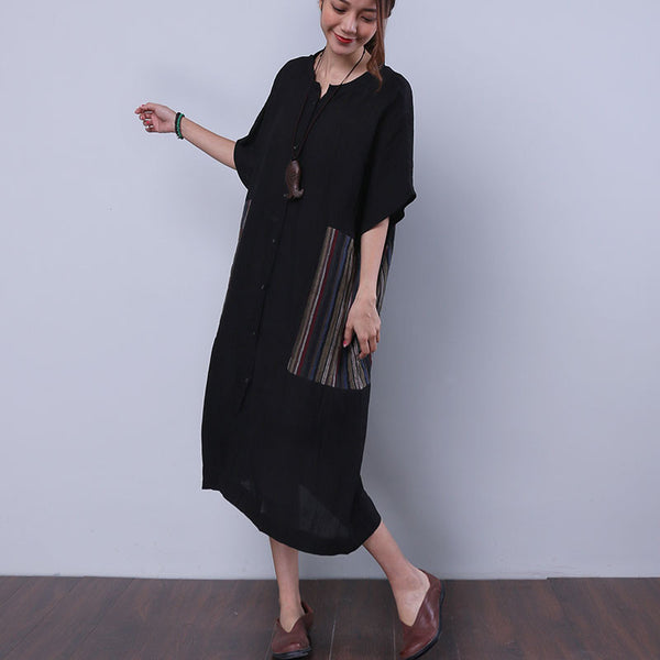 Summer Cotton Linen Women Loose Casual Splicing Black Dress - Buykud