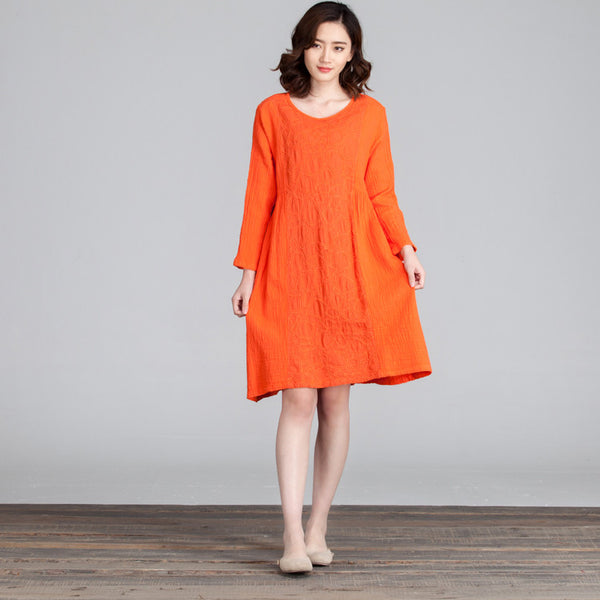 Splicing Women Folded Casual Loose Orange Dress